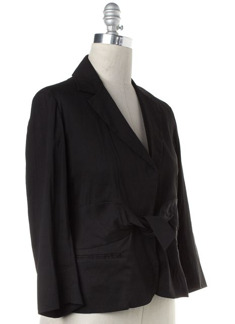 THEORY Black Linen Blend Tied Front Blazer