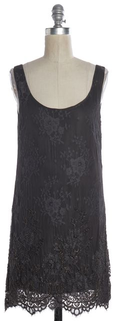 THEORY Gray Floral Lace Chain Embellished Sleeveless Shift Dress