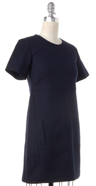 THEORY Navy Blue Uniform Hemida Short Sleeve Sheath Dress