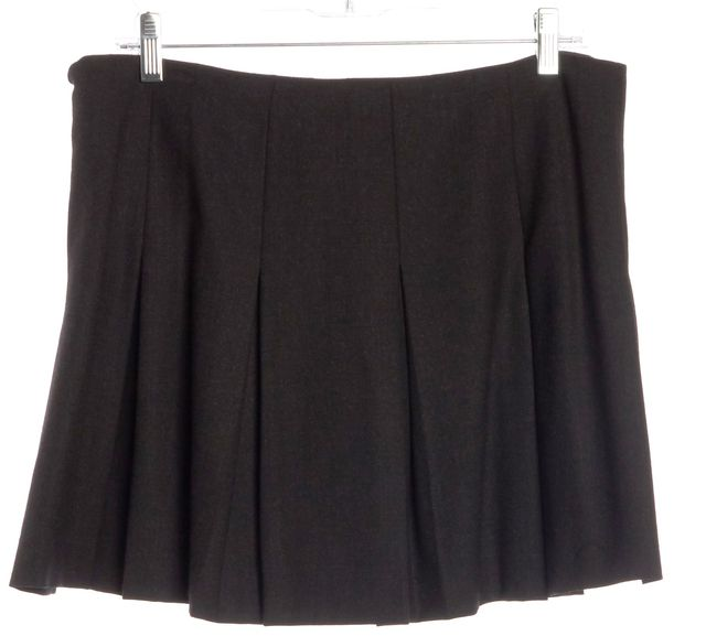 THEORY Dark Gray Wool Pleated Mini Skirt