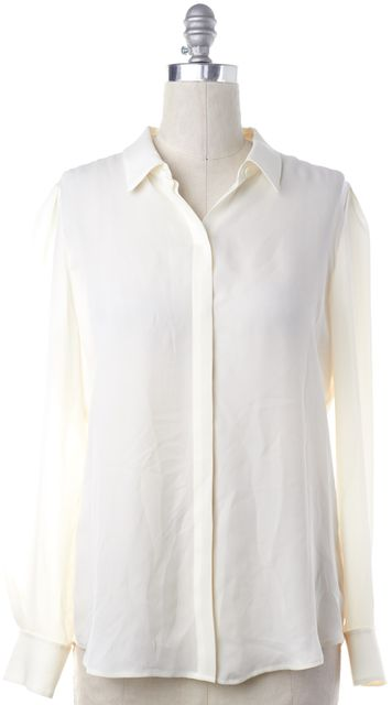 THEORY Ivory Silk Button Down Shirt