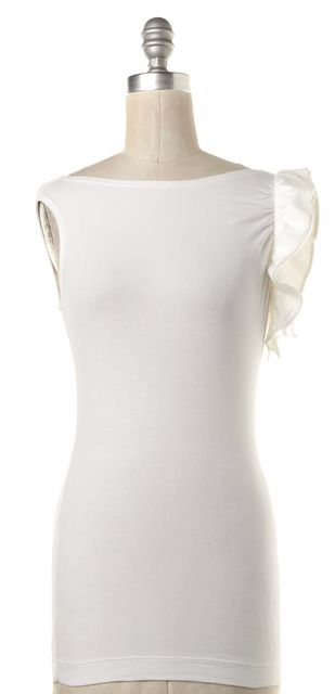 THEORY White Ruffle Sleeveless Blouse Top