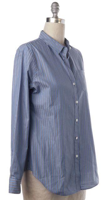 THEORY Blue White Striped Cotton Button Down Shirt