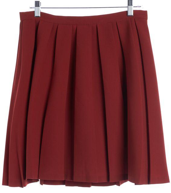THEORY Orange Rust Pleated Skirt
