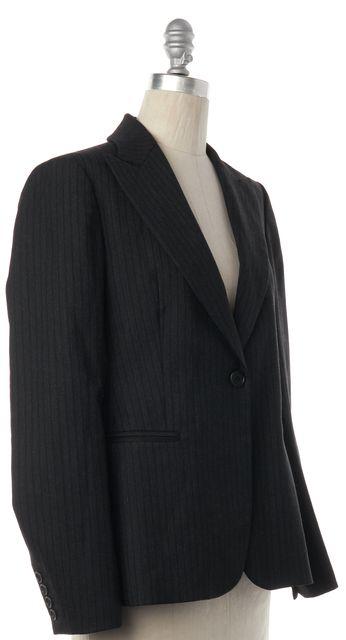 THEORY Gray Pinstripe Single Button Wide Peak Collar Wool Blazer Jacket