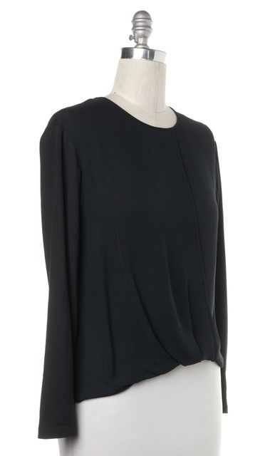 THEORY Green Wrap Front Long Sleeve Blouse