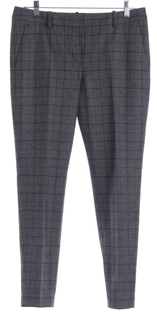 THEORY Gray Plaids Wool Trousers Pants