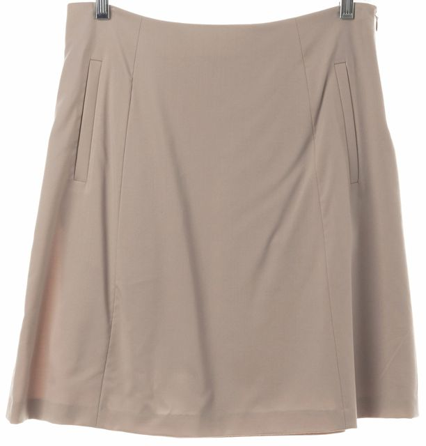 THEORY Beige Stretch Wool Prito W A-Line Skirt