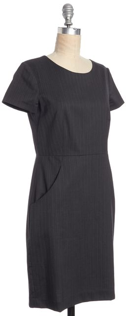 THEORY Wool Gray Pinstripe Tea Dress wIth Pockets
