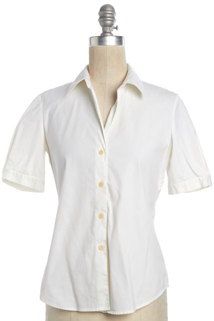 THEORY White Stretch Cotton Button Down Short Sleeved Work Shirt Top