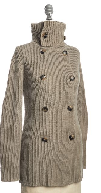 THEORY Beige Wool Knit Cardigan Sweater