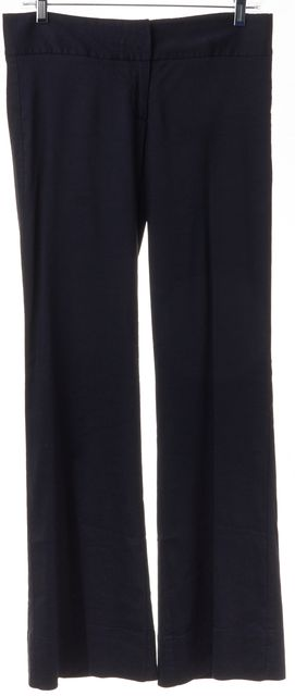 THEORY Navy Blue Classic Linen Casual Relaxed Flare Pants