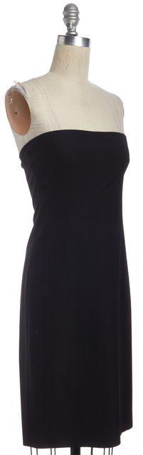 THEORY Black Wool Strapless Knee Length Zip Back Sheath Dress