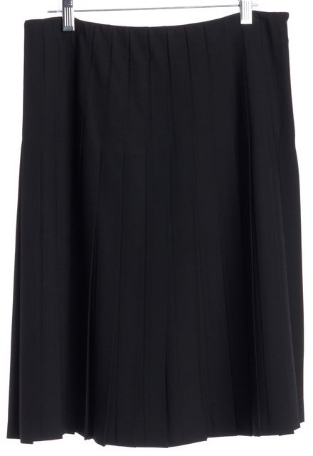 THEORY Black Wool Box Pleated Knee Length Stretch Skirt