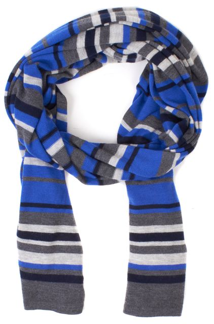 THEORY Blue Gray Black Striped 100% Cashmere Maggy M Scarf