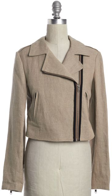 THEORY Beige Linen Motorcycle Jacket with Zip Sleeves