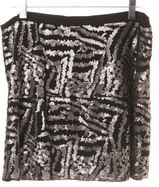 THEORY Silver Sequin Embellished 100% Silk Mini Skirt