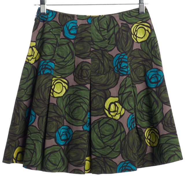 THEORY Green Geometric Abstract Floral Print Ridiana A-Line Skirt