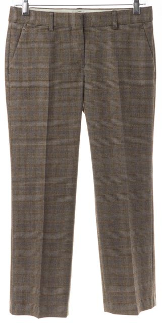 THEORY Brown Blue Plaid Wool Pleated Cropped Trousers Pants