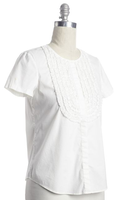 THEORY White Casual Ruffle Button Short Sleeve Blouse Top