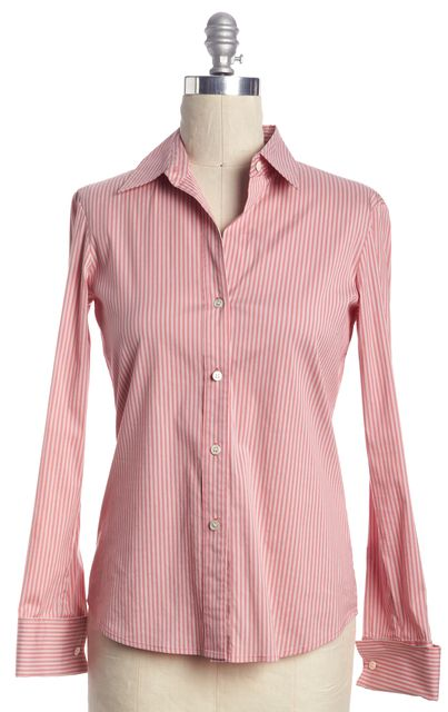 THEORY Pink White Striped Button Down Shirt