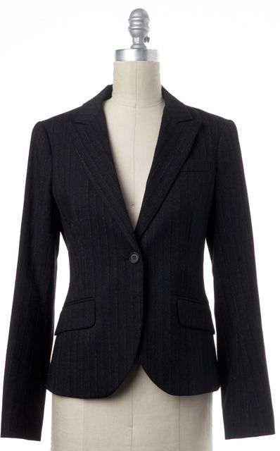 THEORY Charcoal Gray Pinstriped Peak Lapel Wool Blazer Jacket