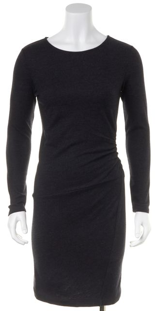 THEORY Gray Wool Ruched Knee Length Sweater Dress