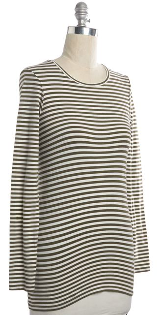 THEORY Olive Green White Stretch Cotton Jersey Long Sleeve Striped Tee Top