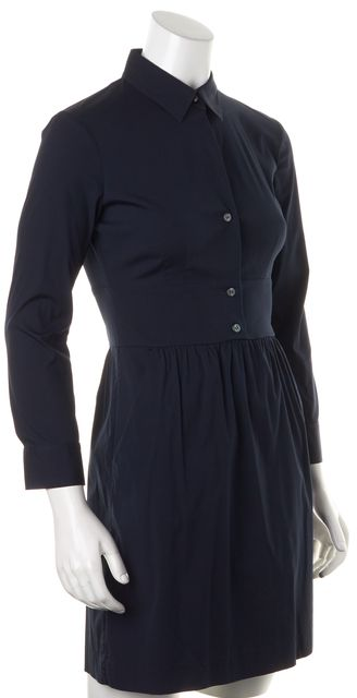 THEORY Navy Blue Stretch Cotton Long Sleeve Rowley Shirt Dress