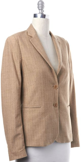 THEORY Beige Gray Striped Wool Two Button Front Pockets Wool Blend Blazer