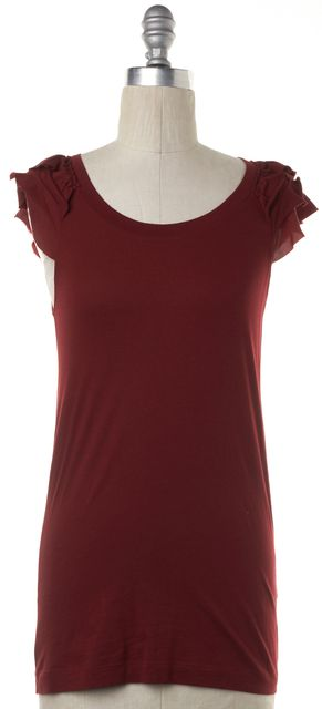 THEORY Maroon Red Short Flutter Sleeve T-Shirt