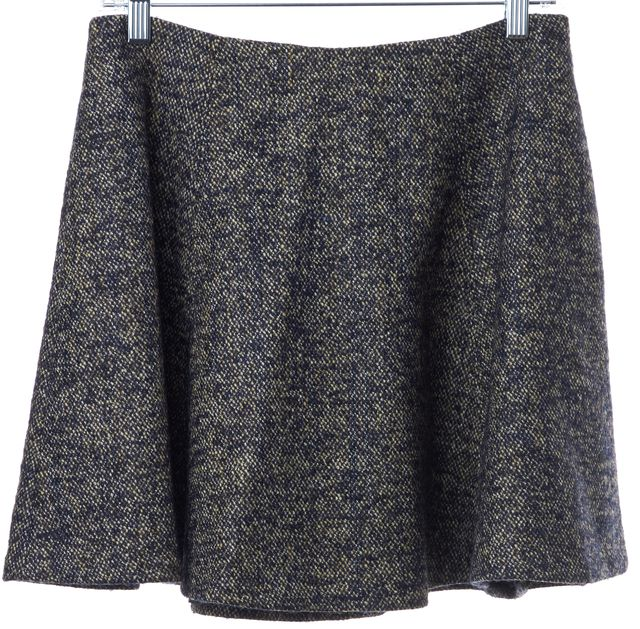 THEORY Navy Beige Tweed Wool A-Line Skirt