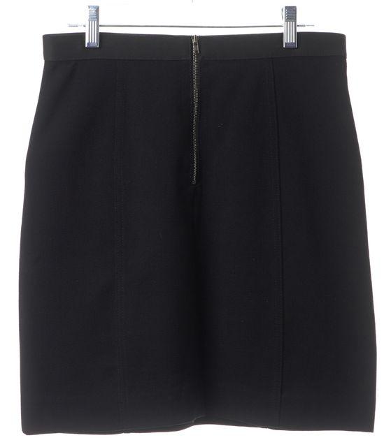 THEORY Black Wool Straight Skirt Zipper Detail Pockets