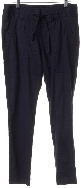 THEORY Blue Linen Tie Waist Large Pocket Casual Pants