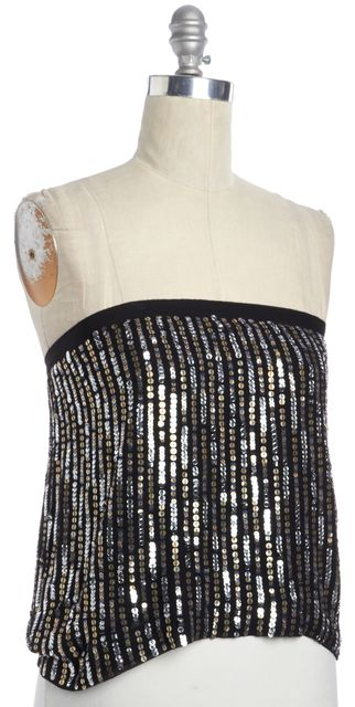 THEORY Silk Black Sequin Embellished Mini Skirt