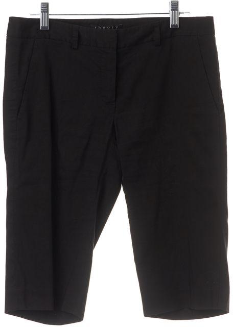 THEORY Black Linen Dress Shorts