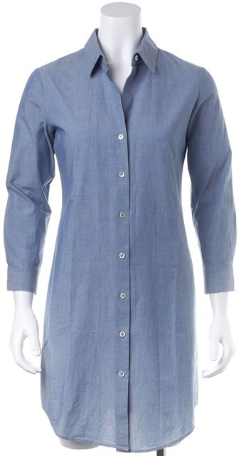 THEORY Blue Chambray Ashleigh Knee-Length Shirt Dress