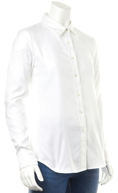 THEORY White Cully Cotton Button Down Shirt