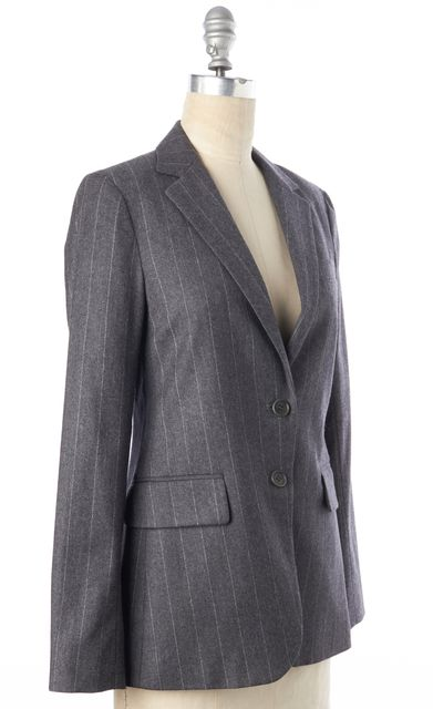 THEORY Gray Striped Wool Two Button Classic Blazer