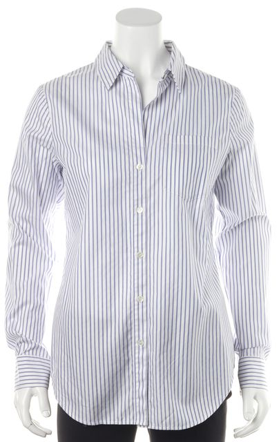 THEORY White Blue Striped Cotton Button Down Shirt Top