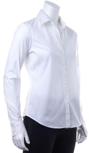 THEORY White Cotton Button Down Shirt Top