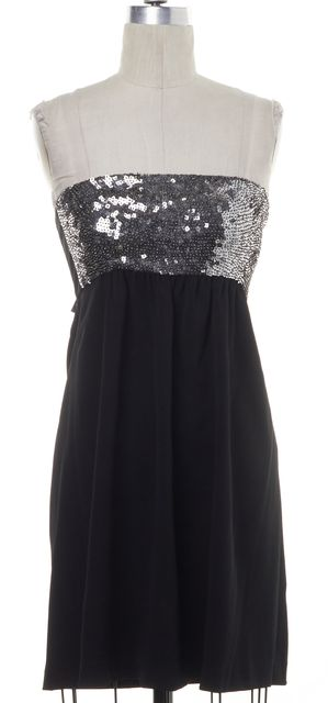 THEORY Black Silver Sequin Wool Strapless Dress