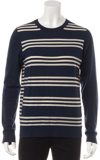 THEORY Navy Blue White Striped Wool Knit Top