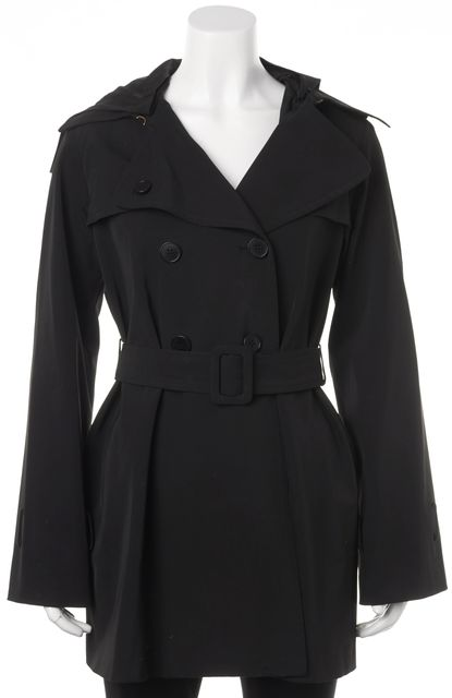 THEORY Black Belted Removable Hood Raincoat Trench Coat Jacket