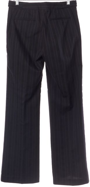 THEORY Navy Blue Black Gray Striped Wool Casual Career Wide Leg Pants