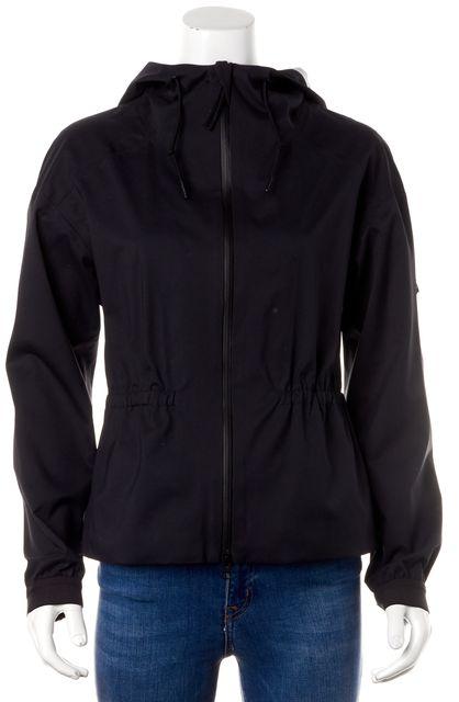 THEORY Black Flya Zip-Up Hooded Summer Raincoat Jacket