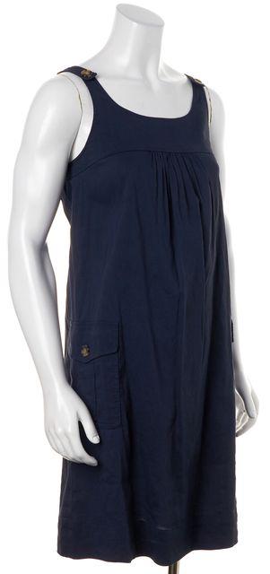 THEORY Navy Blue Linen Emmalina Knee-Length Pinafore Shift Dress