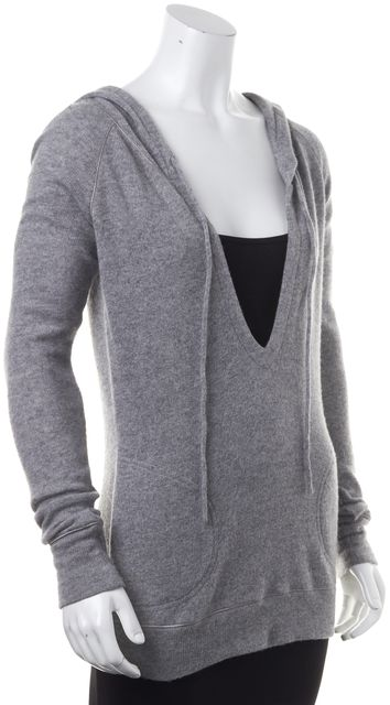 THEORY Gray Wool Knit V-Neck Hooded Sweater