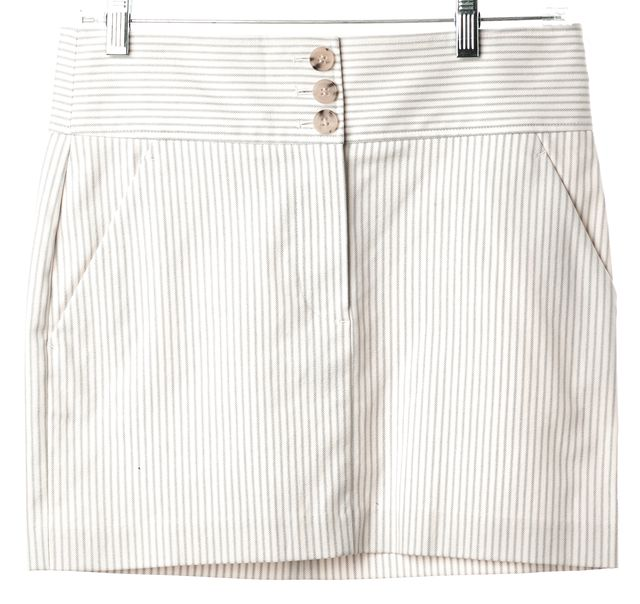 THEORY Ivory Blue Striped Pakeen N Pocket Front Straight Skirt