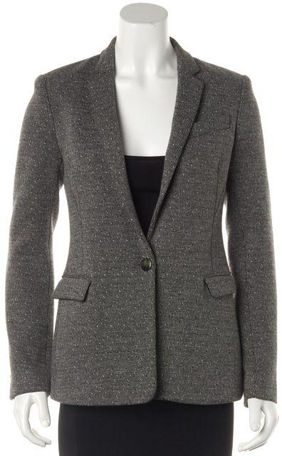 THEORY Gray Multi Cotton Tweed One Button Blazer Jacket